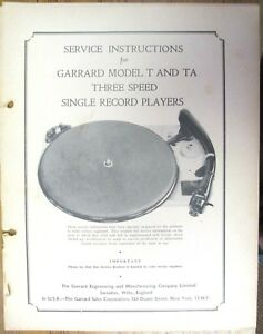 SERVICE-MANUAL-FOR-GARRARD-MODEL-T-amp-TA-TURNTABLE-PHOTO-COPY-24-PAGES-INFO