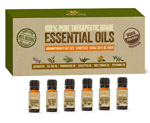 USDA-Organic-Certified-Aromatherapy-Essential-Oils-Kit-set-of-6-10ml-Scents
