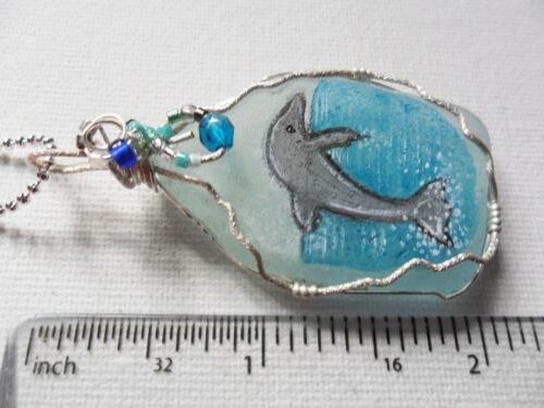 """18/"""" silver plated chain /& miyuki beads Hand painted dolphin sea glass necklace"""