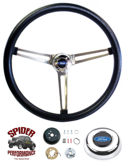 """70-77 Ford F100 F150 F250 F350 steering wheel BLUE OVAL 15"""" MUSCLE CAR STAINLESS"""