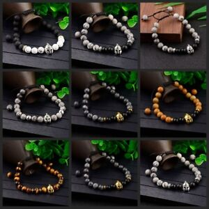 Men-039-s-Helmet-Braided-Bracelet-8mm-Natural-Stone-Lava-Rock-Adjustable-Bracelets