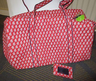 Vera Bradley Large Duffel Petite Red Bandana Paisley & ID case keychain NWTS