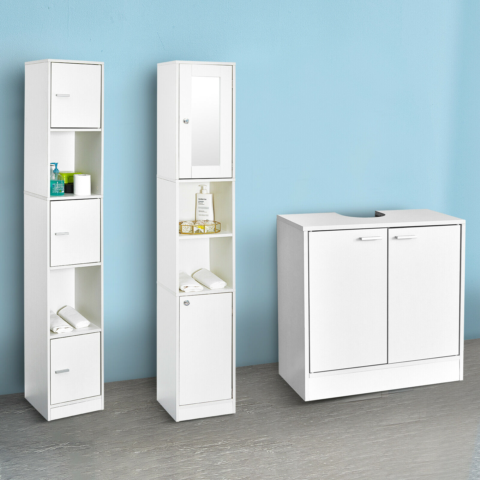 White Cabinet w/ Doors&Shelves Cupboard Storage Unit Bathroom Furniture 3 Styles
