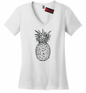 72d48587 Pineapple Ladies V-Neck Graphic Tee Cute Food T Shirt Womens Tee Z5 ...