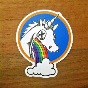 2x-Einhorn-Sticker-Unicorn-Aufkleber-Puking-Regenbogen-Pferd-Party-Geschenk