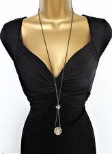 "Beautiful 38"" Long Chain Necklace & AB Diamante Disco Ball Pendant Dark Silver"