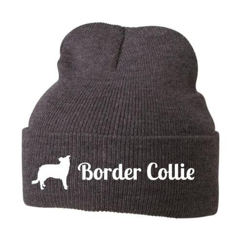 Beanie Strickmütze Mütze Stickmotiv BORDER COLLIE Hunde Siviwonder
