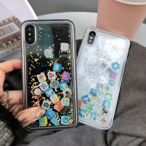 Bling Glitter Ios App Icon Liquid Quicksand Phone Case Cover For Iphone X 6s 7 8 Ebay