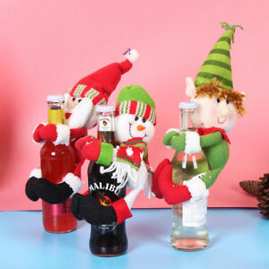 image is loading santa snowman elf wine bottle cover table christmas - Elf Christmas Party Decorations