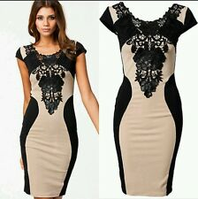 LACE DRESS WITH FAUX LEATHER Bodycon Party Cocktail Evening Pencil Dress Size L