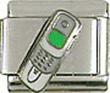 1 Cell phone White Flip Phone 9MM Stainless Steel Italian Charm Brand New!