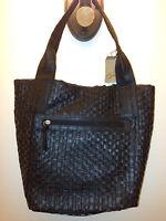 Women's Purse Contemporary Handbag Braciano Black Basket Weave Shoulder Bag $40