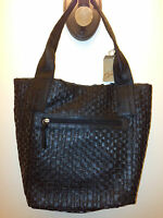 Women's Purse Contemporary Handbag Braciano Black Basket Weave Shoulder Bag $40