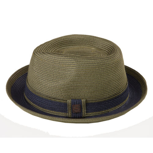 Raynor Crushable Packable Twotone Braided Summer Straw Retro Mens Trilby Hat