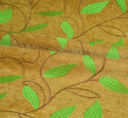 wh02a Gold Brown,Lime Leaf Embroidered Chenille Throw Pillow CASE//Cushion COVER