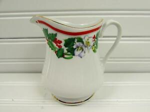 St-Maria-by-Lynn-039-s-China-Creamer-Christmas-Holly-amp-Berry-Red-Band-Gold-Trim-b57