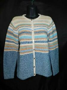 LL-Bean-M-Blue-Brown-Cardigan-Sweater-Striped-Knit-Button-Front-Cotton-Women-md