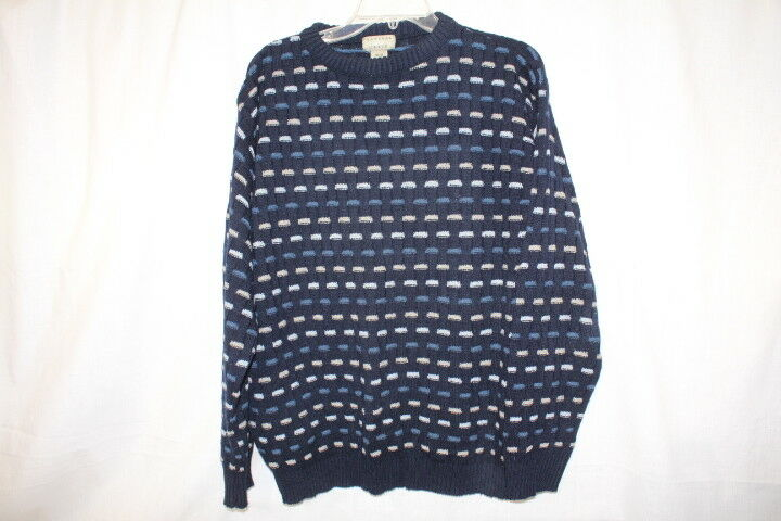 NATURAL ISSUE Shades Of bluee Basket Weave Crew Sweater Mens Size M-B22