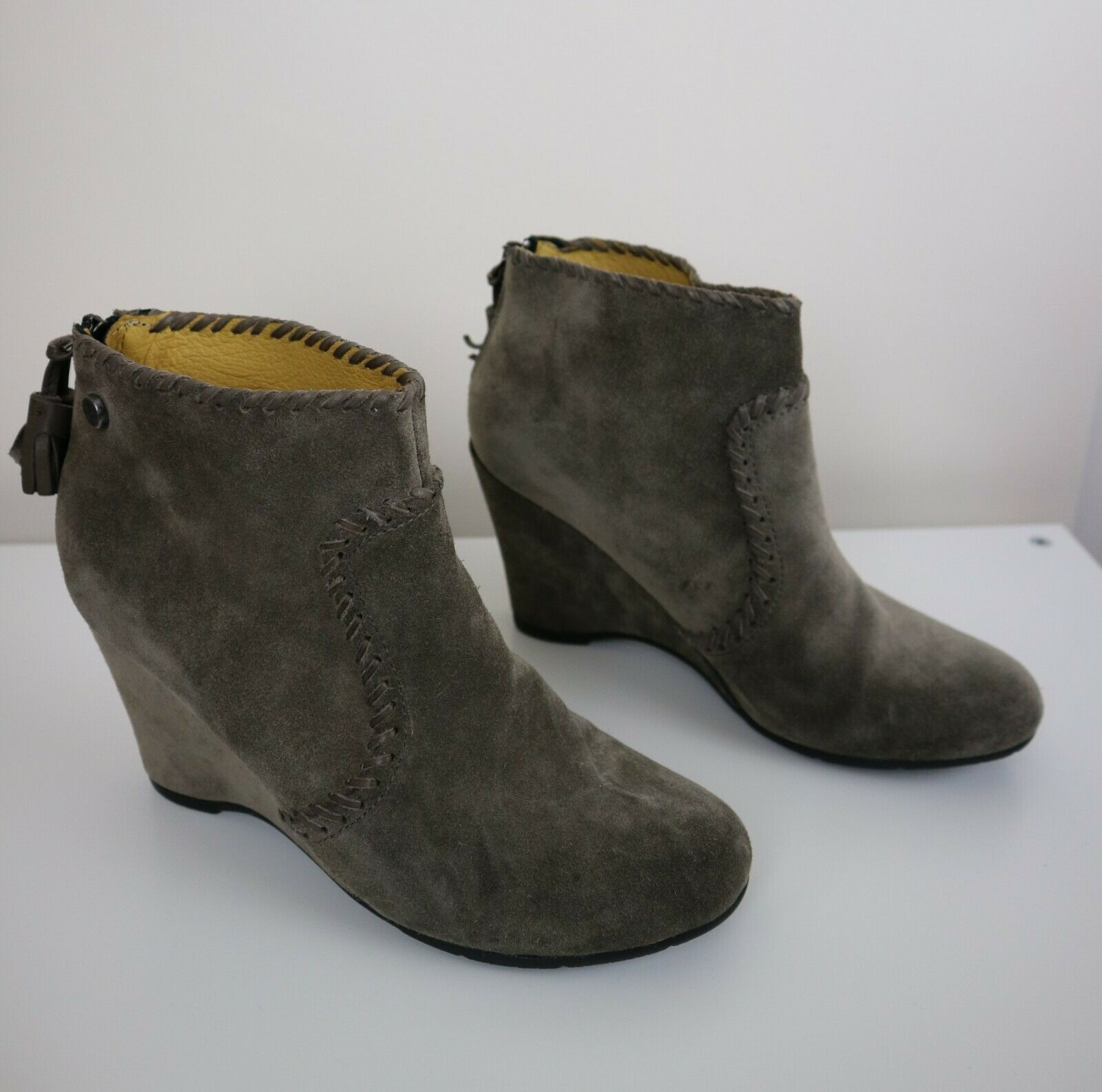 Bussola Suede Wedge Heel Ankle Boots with Tassel Light Brown   Beige