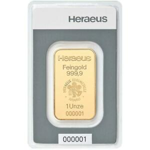 Heraeus-31-1-Gramm-Goldbarren-999-9-Gold-in-Blisterkarte-Neuware