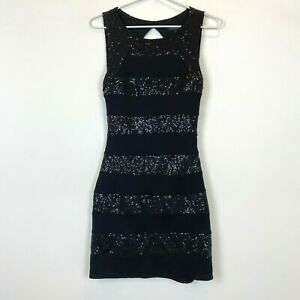 Forever-New-Womens-Black-Sequined-Sleeveless-Bodycon-Dress-Size-8
