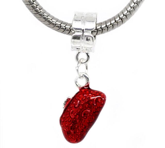 Red Purse Enamel Evening Bag Dressy Dangle Charm for Silver European Bracelets