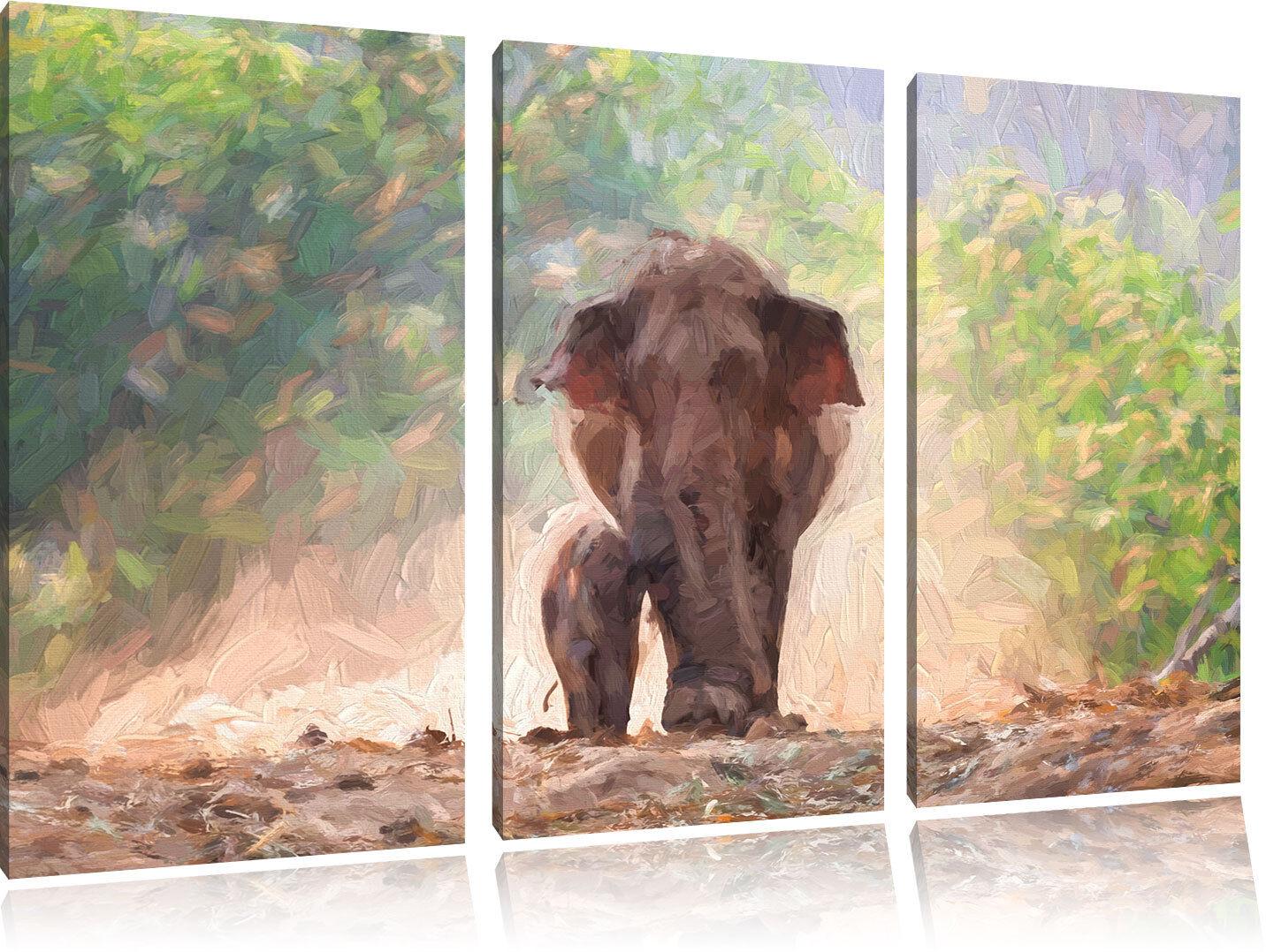 Doux Éléphanteau avec Elefantenmama Art Pinceau Effet 3-Teiler de Image de 3-Teiler Toile 91308a