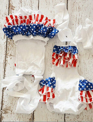Baby Girls Red White Blue Ruffle Romper Bubble 4th of July 3M 6M 9M 12M 18M 24M