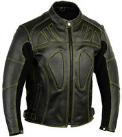 Touring Leather Motorbike Jacket Vented Motorcycle Coat with Armours
