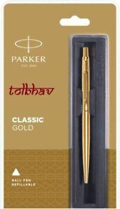 Parker-Classic-Gold-GT-Ball-Point-Pen-Gold-Trim-Fine-Quink-Blue-Refill-New-Nib