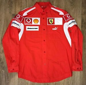 Ferrari-Formula-1-F1-Team-very-rare-long-sleeve-Puma-shirt-size-S