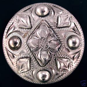 """1 1//2/"""" Mortenson Concho Saddle Silver Bridle Rio Bright"""