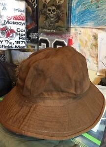 ddbc9a94b1c Details about Vintage WWI WWII US Army Emergency Brown Color Denim Bucket  Hat. Size 7 Rare