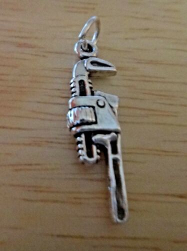 Sterling Silver 3D 27x8mm Plumber Pipe Wrench Tool Charm!