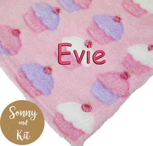 SUPER SOFT Custom Embroidered Baby Girl Gift Personalised Cupcake Blanket