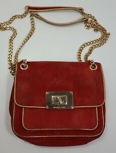 Image Is Loading Michael Kors Small Suede Handbag Purse Shoulder
