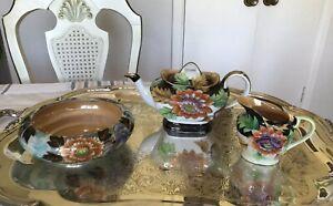Beautiful-Antique-Floral-Satsuma-Lustreware-Partial-Tea-Set-Hand-Painted-Japan