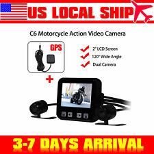 2'' C6 Motorcycle Action Video Dual  Dash Camera Recorder 120°+GPS Tracker Set