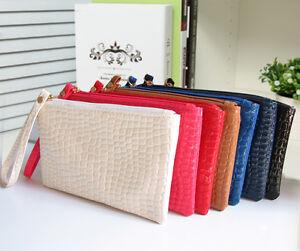 Image is loading Fashion-Women-Ladies-Clutch-Bag-Faux-Crocodile-Leather- 46aa1c0bdbc87