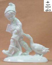 junge kind mit enten gänsen ente gans porzellan figur porzellanfigur Lichte