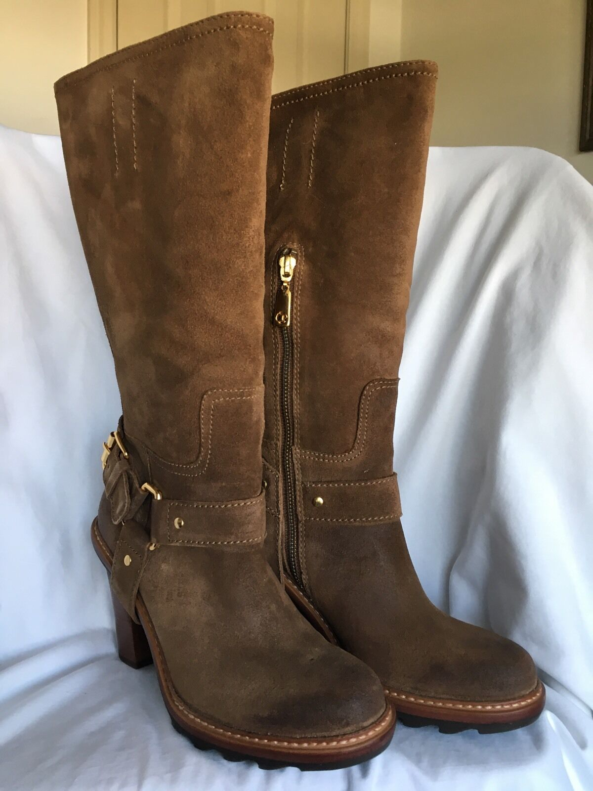 NIB Talbots Brown Leather 349 SALLIE Equestrian Boots Buckle Trim 7.5 M