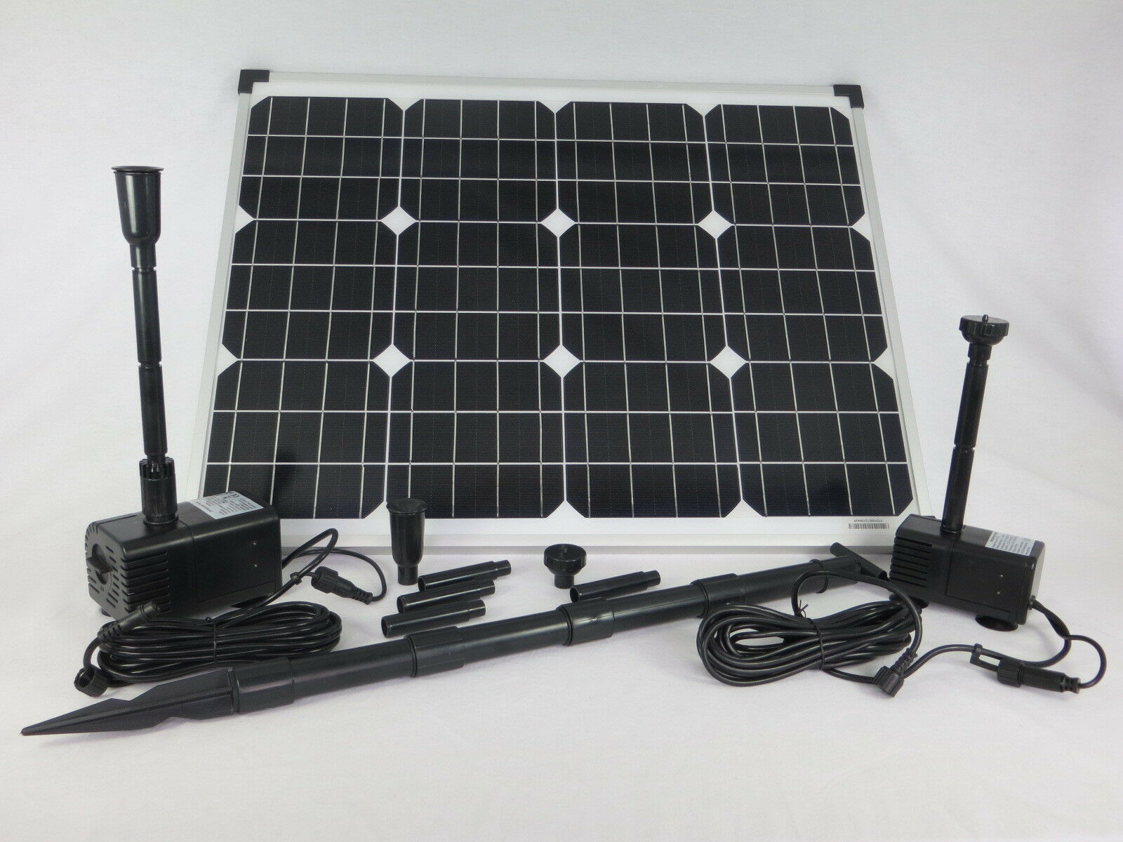 50W Solar Pumpenset con 2 Bomba Estanque Buceo Estanque de Jardín Bomba Fuente