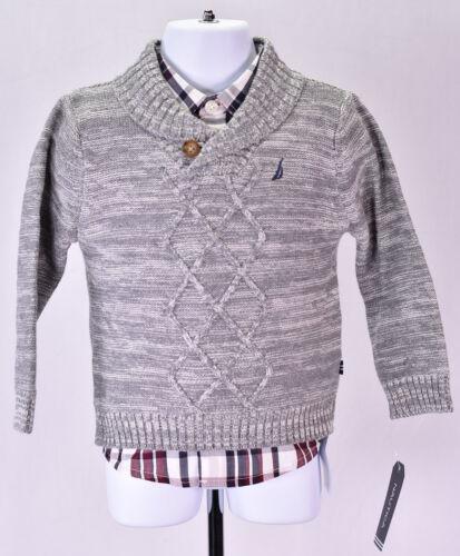 Denim Pants Baby Boy/'s Nautica 3 Piece Set Sweater Long Sleeve Tee Grey