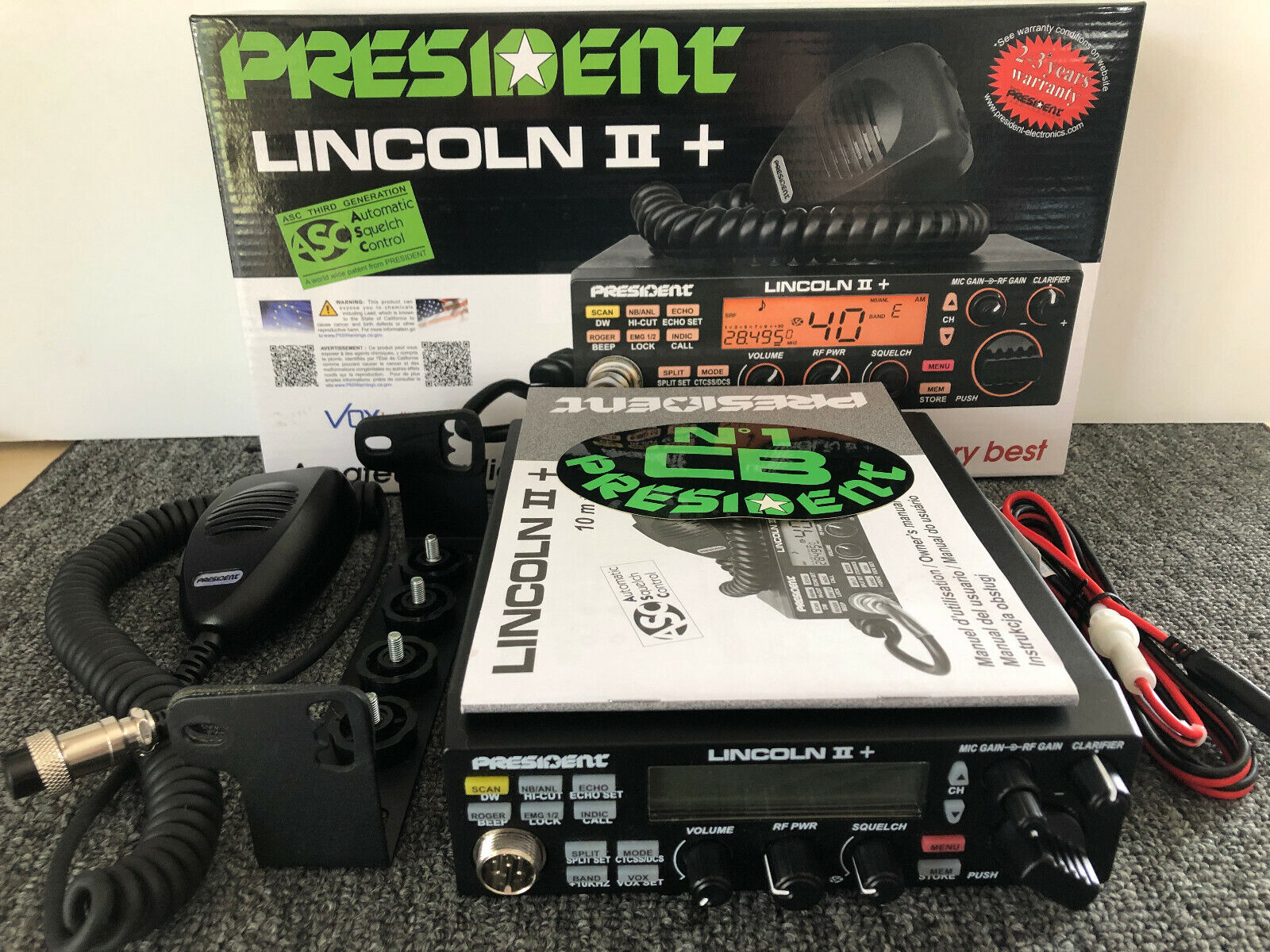 President Lincoln II+ V3 10-11-12 Meter Amateur Radio AM/FM/SSB/CW, TUNED, MINT!. Available Now for 235.00