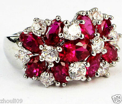gorgeou 925 Silver Glod Filled Ruby 9ct silver Ring Size6-size10 wedding gift