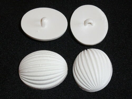 6 Stück Knöpfe Knopf Ösenknöpfe Nylon weiß 28x22 mm NEUWARE 0446
