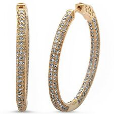 Yellow Gold Plated Pave Cz Hoop .925 Sterling Silver Earrings