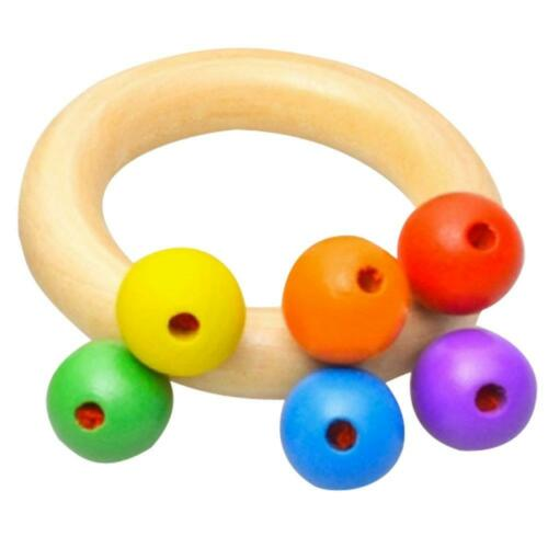 Wooden Bell Rattle Toy Baby Handbell Musical Educational Rattles