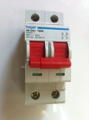 Hager SB299U ISOLATOR Amperage Rating 100 Poles 2 SB 299U and Voltage Rating 400