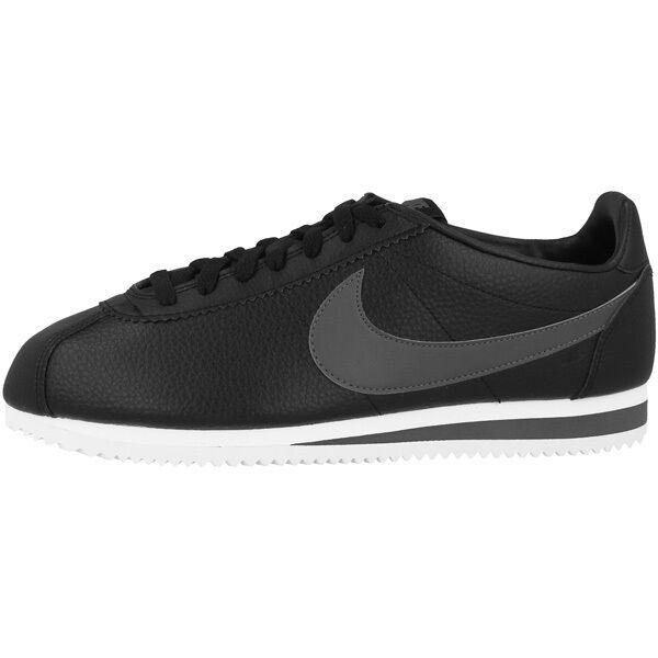 Negro Hombres Classic Deportivas Piel Zapatillas Nike Cortez Zapatos Pw6Tnq0